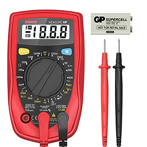 Etekcity - Multímetro digital, probador de voltaje, amp, volt, ohm con diodo y prueba de continuidad, fusible doble anti-quemaduras