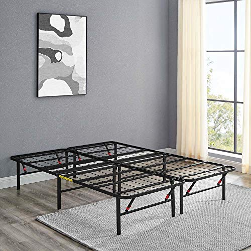 "Amazon Basics Foldable, 14"" Metal Platform Bed Frame with Tool-Free Assembly, No Box Spring Needed - Queen"