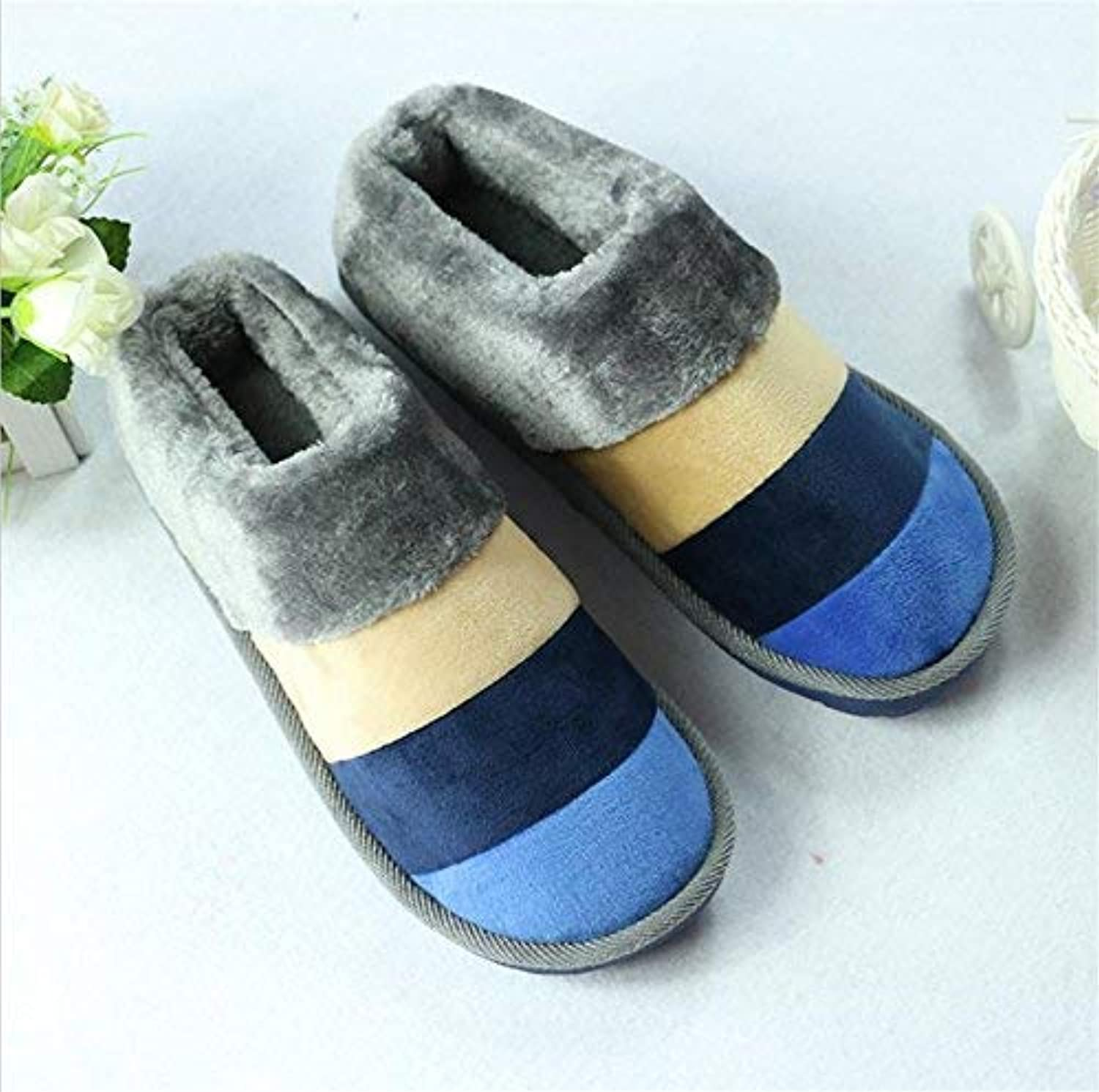 Comfortable Slipper Men's Slippers Home Slippers color Warm in Autumn and Winter Cotton Home Skid bluee Brown Slippers for Men