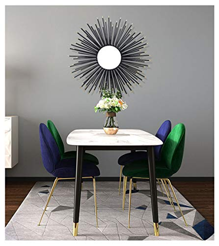 Decorative Sunburst Black Wall Mirror Iron Shabby ChicRound 3D Stereo Vintage,Wall Mirrors Hand forging Wall Mountable Shabby Chic Home Decor Entrance, bar Hall, Bedroom, Hallway etc,65CM