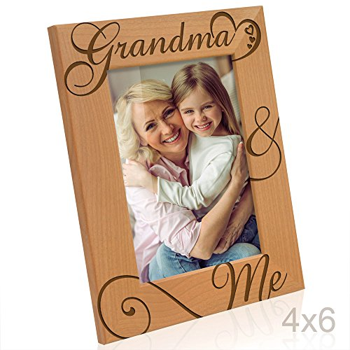 KATE POSH Grandma and Me Engraved Natural Wood Picture Frame, I Love You Grandma, Grandparent's Day, Best Grandma Ever, Grandmother Gifts, Grandma & Me, Mother's Day (4x6-Vertical)