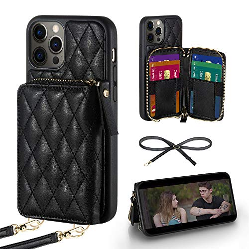 LAMEEKU Wallet Case Compatible with iPhone 12 Pro Max, Card Holder Case with Crossbody Strap Leather Handbag Case for Women Protective Case Compatible with iPhone 12 Pro Max 6.7''-Black