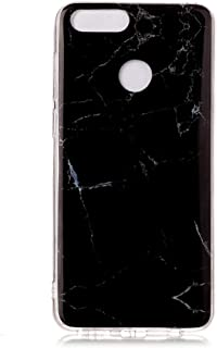 For Huawei Honor 7X Cover, Marble Design Bumper Glossy TPU Soft Rubber Silicone Cover Phone Case for Huawei Honor 7X (Black)