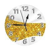 掛け時計 壁掛け時計 キラキラゴールドダスチャンドドッグ かけ時計 おしゃれ 耐久性 静音 音無し シンプル デザイン 連続秒針 電池式 直径25cm 寝室 部屋装飾 オフィス 丸形 時計