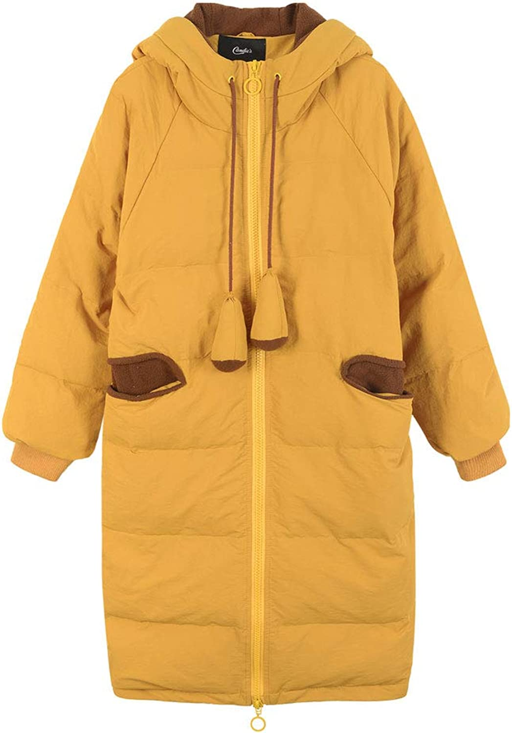 Yellow Long Over The Knee Down Jacket Fashion Hooded Cute Cotton Coat Winter Women's Straight Warm Jacket (color   Yellow, Size   M)