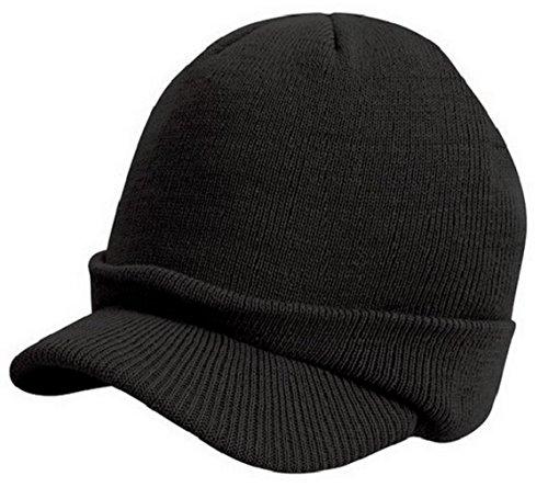 Bonnet Casquette avec visière - Coloris Noir - Airsoft - Paintball - Ski - Chasse - Pêche - Outdoor - Fashion - Tendance - Hip hop