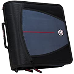 3-ring zipper binder with 3-inch O-rings 5-color tabbed expanding file Gusseted zipper allows access to inside file Built-in handle and shoulder strap Unique angled zipper design for easy opening and closing