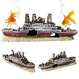 YOUTHINK Decorazione per Relitto per Acquario,Barca per Decorazione Acquario Decorazione per Acquario Modello per Relitto in Titanio Decorazione per Modello per Relitto