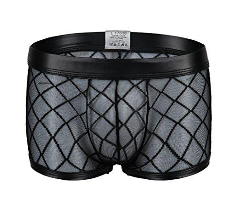 Kwelt Herren Unterhose Mesh Transparent Boxershorts Strings Netz Unterwäsche Transparent Bikini Slips Shorts Pants, Gr.-Asien XL / EU M-L,Schwarz