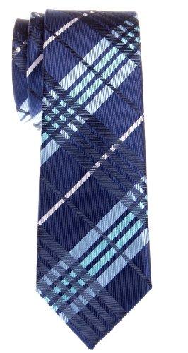 Retreez Cravate Fine Slim stylée micro-fibreuse tissée en tartan pour homme - Bleu marin