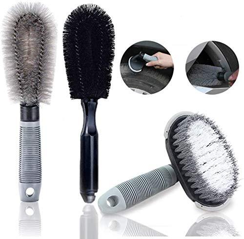 KJLM Juego de cepillos de Limpieza para Ruedas de automóviles,Herramienta de Lavado de cepillos para neumáticos de Motocicletas o Bicicletas (3 Pack)