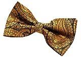 Pajarita preatada de microfibra con patrón de arte de Paisley (5 pulgadas) - dorado - talla única