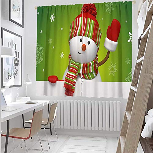 Christmas 99% Blackout Curtains Wooden Lodge with Classic American Truck and Tree Gifts Starry Sky Winter Snow for Bedroom,Kindergarten,Living Room W52 x L54 Inch