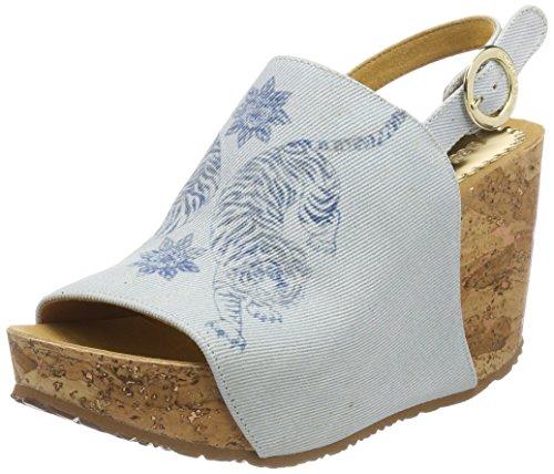 Desigual Shoes_swan Tigers, Sandali con zeppa Donna, Blu 5098 Starlight Blue, 41 EU