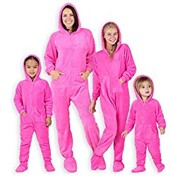 "Footed Pajamas - Family Matching Neon Pink Hoodie Onesies for Boys, Girls, Men, Women and Pets (Adult - XSmall (Fits 5'2-5'4""))"