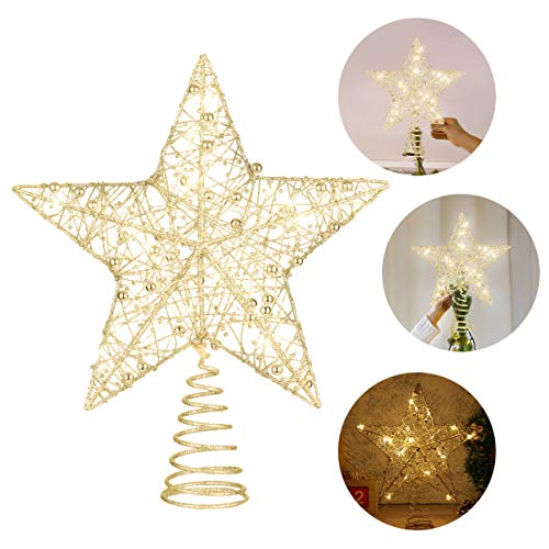 NUOBESTY Glittered Christmas Tree Star 1Pc, 25 x 30 cm Golden LED Flashing Tree-top Lamp Ornament Hollow Wire Glitter Xmas Treetop Star Tree Star Topper Lights for Xmas Party