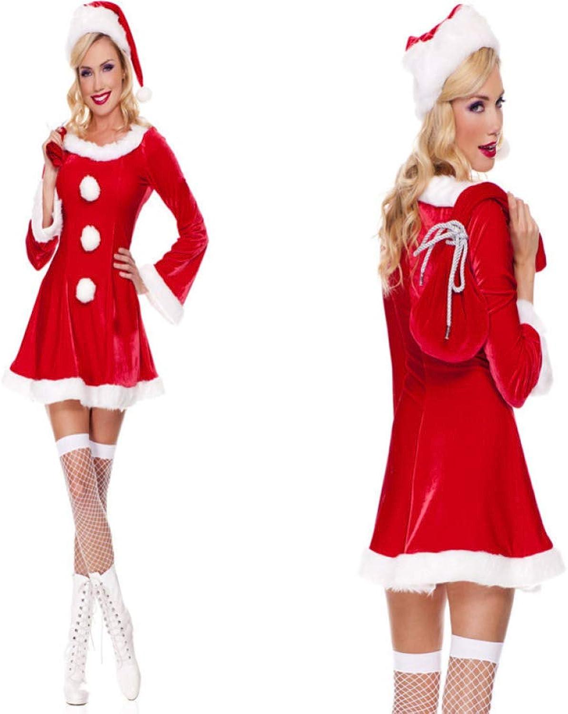 Unbekannt FAFY Weihnachten Weihnachten Weihnachtsmann Damen, Kleidet Nettes Weihnachts Mädchen, Weihnachtsfrauen Kleid, Hut, Rock, Tasche, Eine Größe B07KF3GLMK Tadellos  | Moderne und stilvolle Mode