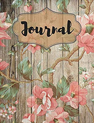 Grey Wood Themed Daily Writing Journal with Pink Flowers
