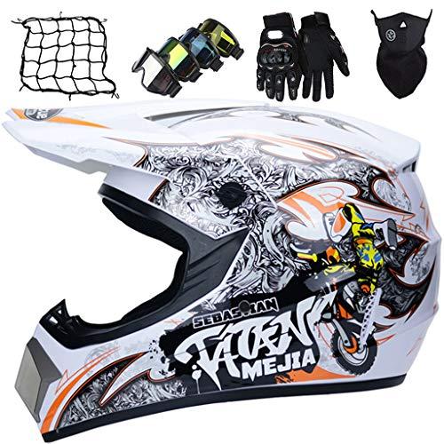 Casco de Moto Niños, Conjunto de Casco de Motocross con Gafas/Guantes/Máscaras/Red elástica, Casco Integral Adultos para Downhill Todoterreno Enduro MTB Quad Bike, Blanco Naranja