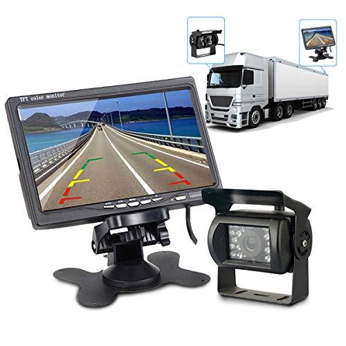 LKW Umkehrung Kamera Kit, Maso IR Nachtsicht-Rückfahrkamera 4 Pin + 7-Zoll-Rückfahrmonitor Einparkhilfe mit 15m Kabel für RV Truck Trailer Bus Camper Wohnmobil