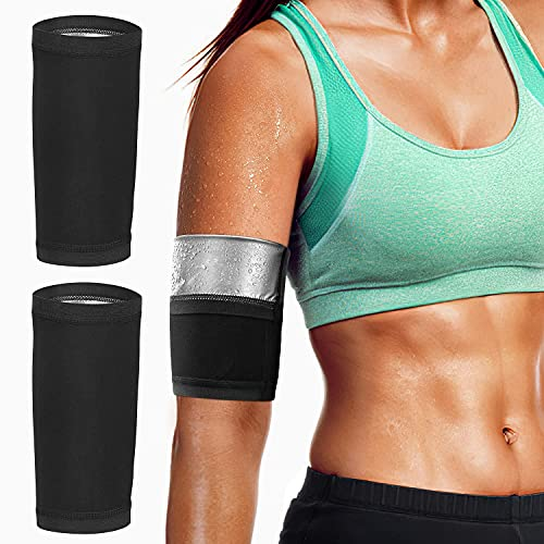 MoKo Arm Trimmer Bands, 1 Pair Upper Slimming Arm Compression Sleeves Shaper Wraps for Flabby Arms, Elastic Sport Workout Exercise Armbands for Women Men Girls Weight Loss, Silver Lining-2XL/3XL Size