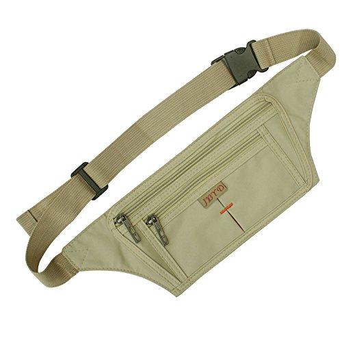 NAOKI LOVE Ocultar ultrafino de cintura Pack bolsa bolso deportes al aire libre Correr Viaje Runner cinturón con tarjeta de Crédito ranuras de pantalla, Z-Khaki