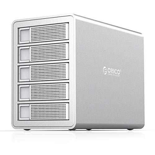 Orico 5-Fach Dockingstation Festplatte für 2,5/3,5 Zoll SATA HDD/SSD, USB 3.0 & eSATA Anschluss, 5 * 16TB, Silber, 150W Externe Netzteil, zum Windows/Mac/Linux