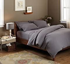 Pinzon Signature Cotton Heavyweight Velvet Flannel Duvet Set - Full or Queen, Graphite