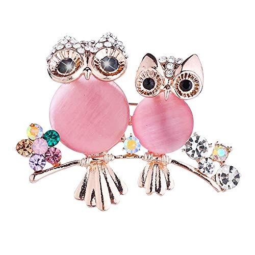 Broche de doble búho con diamantes de imitación ovalados de ojo de gato de piedra de animal chapado en oro, joyería de moda regalo para mujeres y hombres