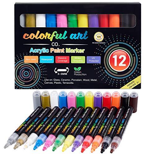 Künstler Acryl-Farbstifte Set - 12 Farben - zum Bemalen von Steinen, Kiesel, Glas, Keramik, Porzellan - extra 2 metallic Acryl Stifte, Rund- und Meißelspitze (3-5 mm) - wasserfest - geruchlos