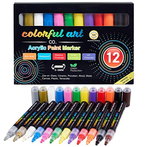 Colorful Art Co. Acrylic Paint Pens – Premium, Permanent, Waterproof Pen 12 Pack w/Reversible 3-5mm Brush Tips – Vibrant Painting Markers for Rocks, Wood, Glass, Fabric & Stone - Craft Supplies
