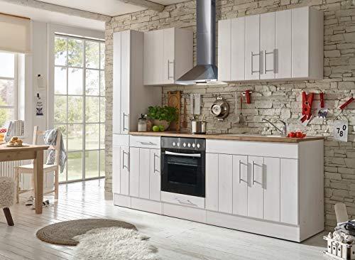 respekta Küche Küchenzeile Küchenblock Landhausküche Einbauküche Komplettküche 240 cm weiß