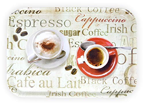 Lashuma Bandeja de café grande, de melamina, con estampado, rectangular, 38 x 26 cm