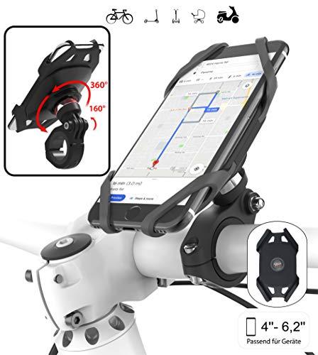 Plp tek Go-Ride-Smart Universal Handyhalterung für Fahrrad, Scooter, Motorrad, Mountain Bike,EINZIGARTIGES GELENK 360°drehbar,160°neigbar für einen optimalen Blickwinkel für iPhone, Samsung usw.