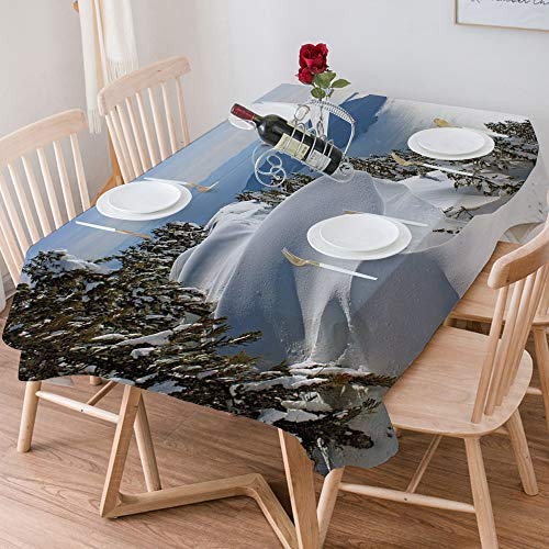 Tablecloth Rectangle Cotton Linen,Winter,Pacific Ocean Meets the Mountains Vancouver British Columbia,Waterproof Stain-Resistant Tablecloths Washable Table Cover for Kitchen Dinning Party (140x200 cm)