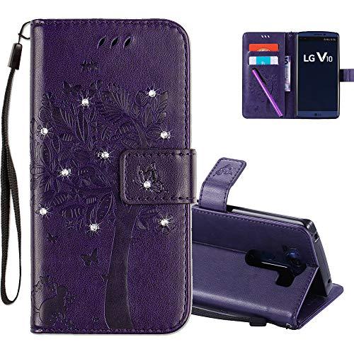 COTDINFOR LG V10 Hülle für Mädchen Elegant Retro Premium PU Lederhülle Handy Tasche mit Magnet Standfunktion Schutz Etui für LG V10 Purple Wishing Tree with Diamond KT.
