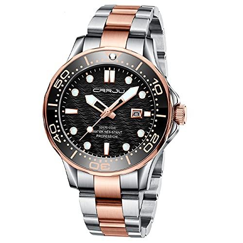 Relojes para Hombre Reloj de Cuarzo analógico Impermeable de Acero Inoxidable de Oro Rosa de Moda para Hombres Reloj de Negocios Reloj de Pulsera Negro