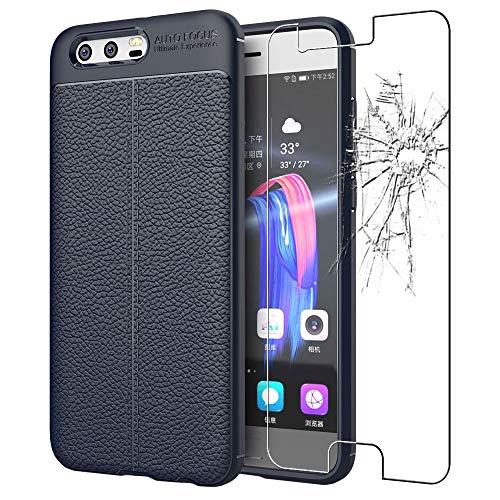 ebestStar - kompatibel mit Huawei Honor 9 Hülle Lederhülle Design TPU Handyhülle Schutzhülle, Flex Silikon Hülle, Dunkelblau + Panzerglas Schutzfolie [Honor 9: 147.3 x 70.9 x 7.5mm, 5.15'']