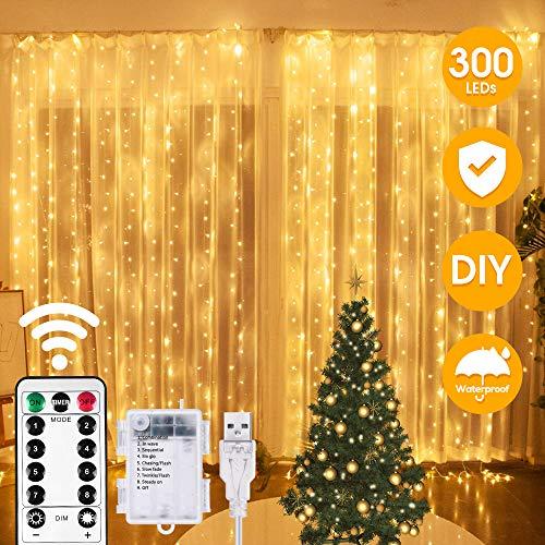 Preisvergleich Produktbild LED Lichtervorhang,  VAZILLIO LED USB Lichtervorhang 3M*3M 300LEDs Lichterkettenvorhang 8 Modi Lichterkette Batterie für Party deko,  schlafzimmer,  Innen und außen Deko