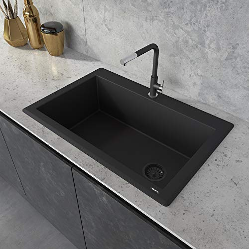 Ruvati 33 x 22 inch Dual-Mount Granite Composite Single Bowl Kitchen Sink - Midnight Black - RVG1033BK