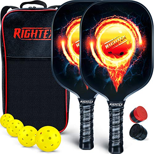 Rightex Pickleball Paddle Set – 2 Premium Lightweight Graphite Honeycomb Composite Core Rackets – Ultra Cushion Grip - Paddle Carry Case - 4x40 Hole USAPA Balls - 2 Overgrip Rolls