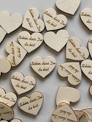 50 Streudeko Holz Herz Tischdeko Schön, dass Du da bist Dekoherzen Streuteile Holzherz Streudeko Hochzeit Geburtstag helles Holz 2 cm