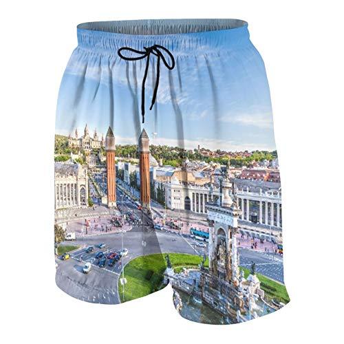 SUHOM Herren Beiläufig Boardshorts,Stadtansicht des Zentrums Barcelona Spanien Panorama Bus Kathedrale Brunnen Reise,Schnelltrocknend Badehose Strandkleidung Sportbekleidung mit Mesh-Futter