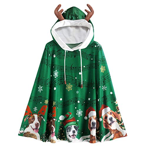 Check Out This Amlaiworld Women Christmas Snowflake Printed Coat Cloak Matching Fuzzy Ball Hooded El...