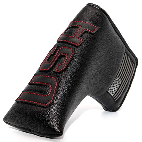 Golf Putter Cover Blade,Putter Covers Golf Club Head Covers Putter Headcover for Blade Leather Golf Putter Head Covers with Magnetic for Odyssey 2 Ball Scotty Cameron (Putter Cover (BK-RE))