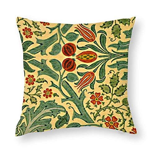 WH-CLA Fundas de almohada de Morris de otoño con diseño de flores, 45 x 45 cm, coloridas, para oficina, funda de almohada con cremallera, decoración del hogar, sofá, acogedora impresión