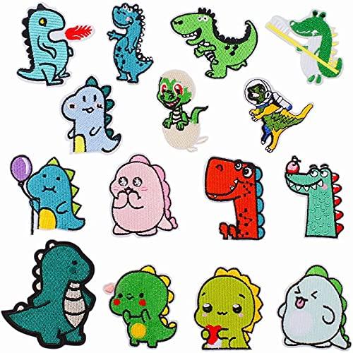 Bügelflicken Kinder,15 Stück Dinosaurier Aufnäher,Patches zum Aufbügeln,zum Anbringen an Kleidung, Jacken, Jeans, Rucksäcken, Schals, toll für Kinder