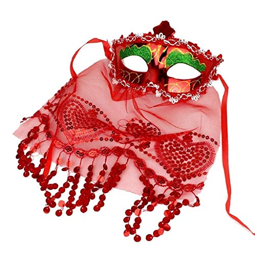 EVRYLON Mascherina Veneziana Donna Sexy in Rosso Maschera Carnevale Venezia con Velo in Pizzo Accessori Carnevale per Travestimenti e Costumi spettacoli