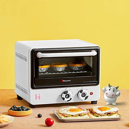 Mini Four Grille-Pain Compact 12L Tube à Onde Lumineuse Chauffage Peut Cuire 8 Pouces gâteau en Mousseline de Soie Doublure en Aluminium plaqué 1000 W (Blanc/Vert)