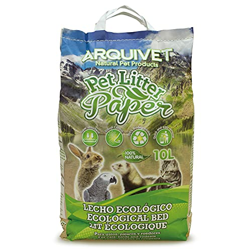 Arquivet Pet Litter Paper - Lecho higiénico ecológico - Lecho Papel Reciclado para Gatos, pájaros y roedores - Biodegradable - Fórmula hipoalergénica - 10 L